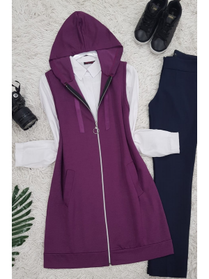 Hooded Combed Cotton Vest -Damson