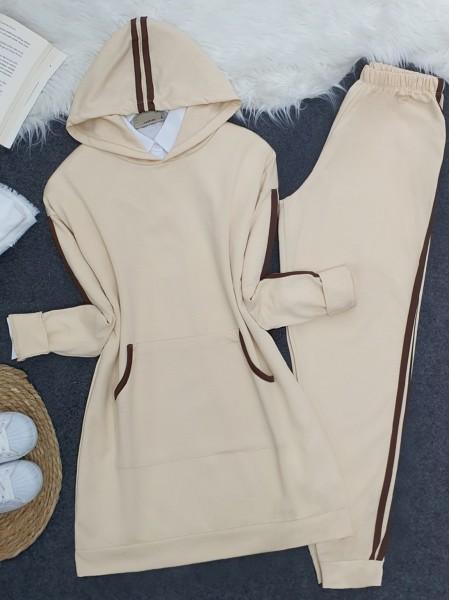 Hooded Kangaroo Pocket Stripe Detailed Set - Beige