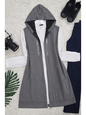 Hooded Combed Cotton Vest -Smoked