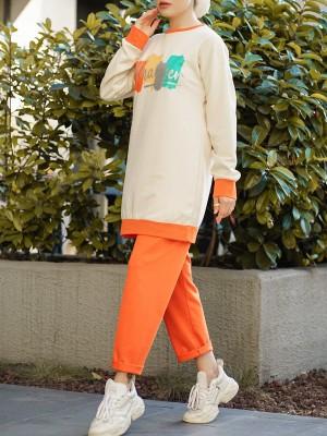 Whatever Written Double Color Combed Cotton Set -Orange