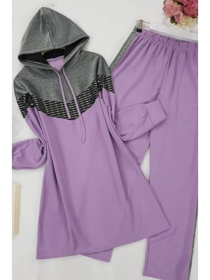 Silvery Hooded Suit -Lilac