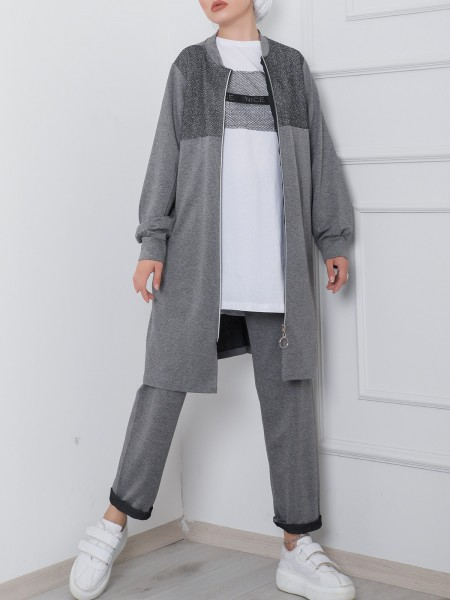 Zippered Silvery Mesh Detailed Pockets Triple Suit -Smoked