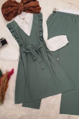 Gömlek Garnili Ayrobin Takım -Yeşil