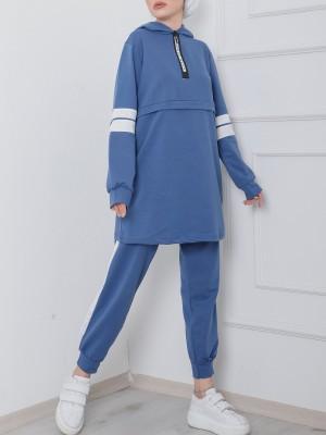 Hooded Half Zipper Neon Stripe Suit  -İndigo