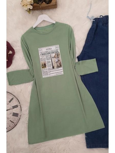 Long Sleeve Slit Tunic -Green