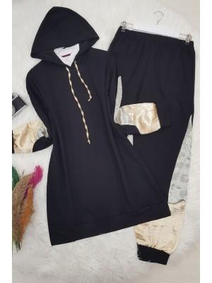 Satin Detailed Hooded Team -Black