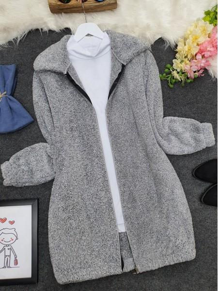 Zipper Plush Coat  -Grey