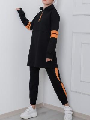 Hooded Half Zipper Neon Stripe Suit -Black
