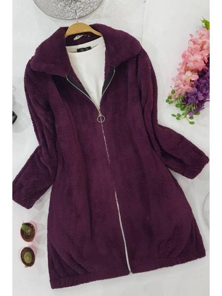 Zipper Plush Coat -Damson