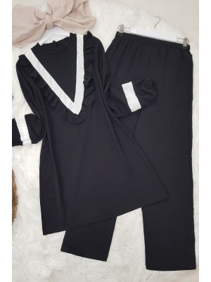 Ayrobin Frilly Front Set -Black