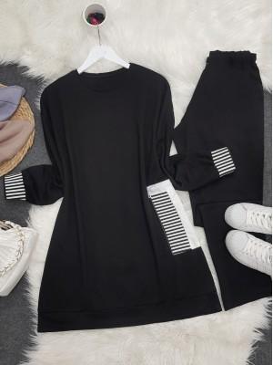 Elastic Arms Side Pocket Zipper Combed Combed Set -Black