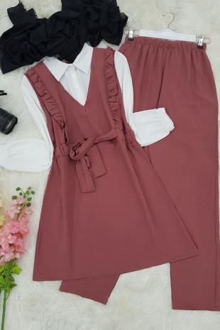 Gömlek Garnili Ayrobin Takım  -Pudra