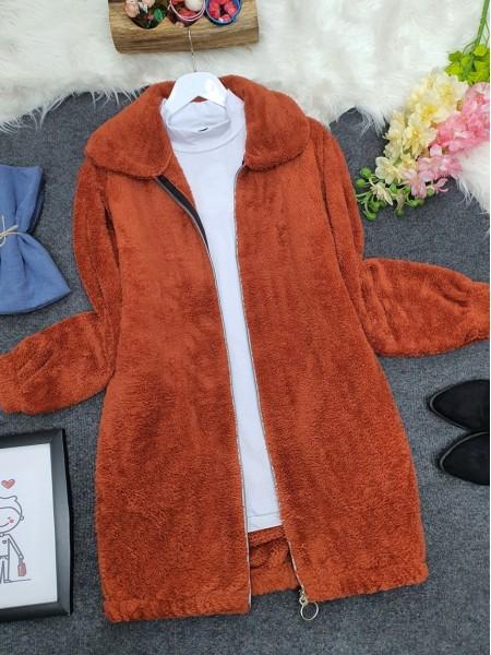 Zipper Plush Coat  -Brick color