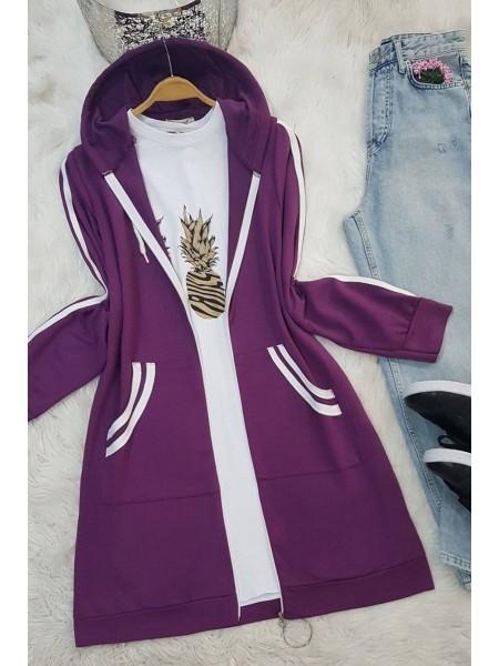 Striped Garnish Combed Cotton Cape - Purple