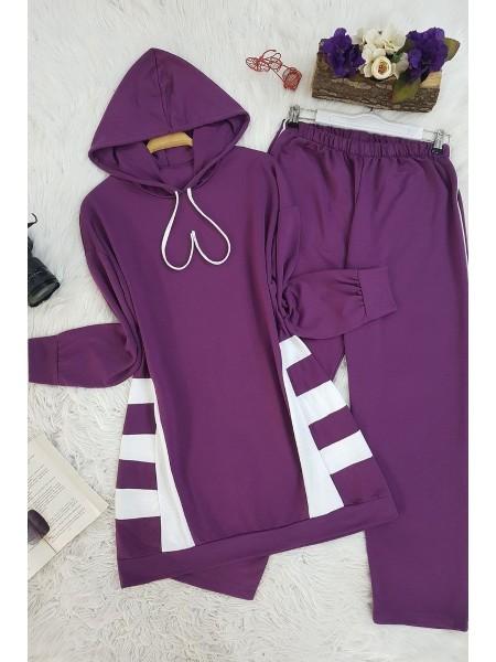 Yan Şeritli Kapşonlu Takım - Purple