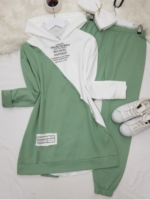Hooded Letter Detailed Double Color Combed Cotton Set -Green