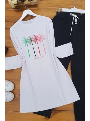 Palm Pattern T-Shirt -White