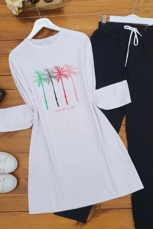 Palmiye Baskılı Tshirt -Beyaz