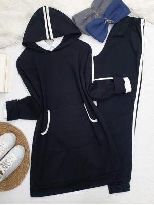 Hooded Kangaroo Pocket Stripe Detailed Set -Black