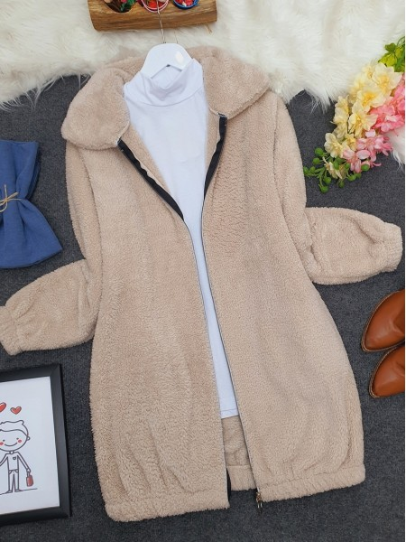 Zipper Plush Coat  -Stone