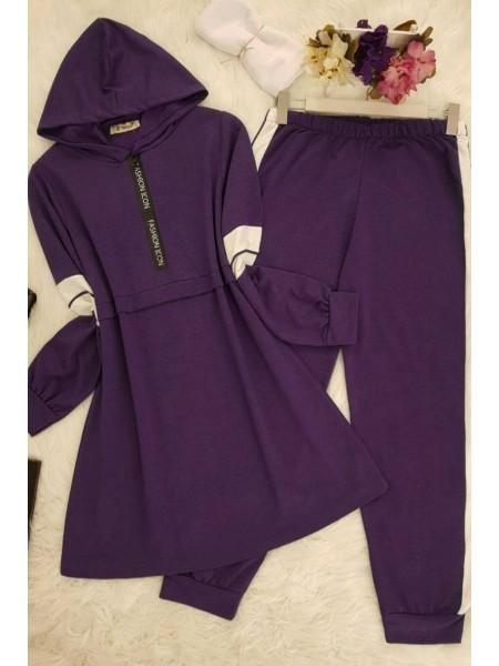 Striped Combed Cotton Fabric Suit   - Purple