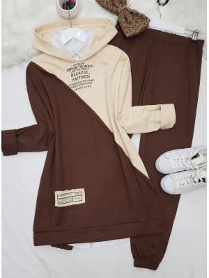 Hooded Letter Detailed Double Color Combed Cotton Set -Brown