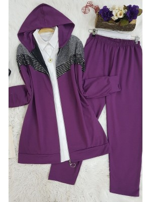 Zippered Silvery Hooded Suit -Damson