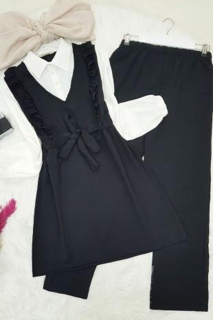 Gömlek Garnili Ayrobin Takım -Siyah