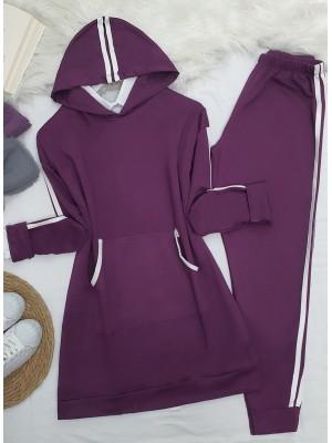 Hooded Kangaroo Pocket Stripe Detailed Set -Damson