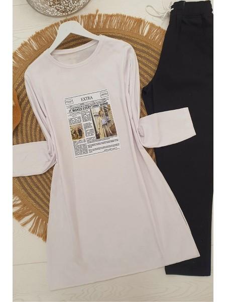 Long Sleeve Slit Tunic -White