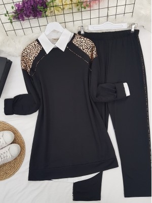 Shoulders and Stripes Leopard Pattern Combed Combed Suit -Copper