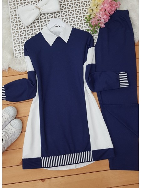 Skirt and Arm Elastic Double Color Garnish Suit -Navy blue