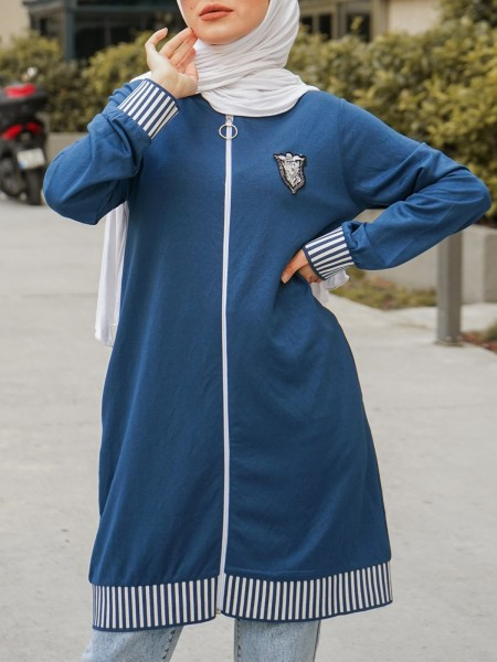 Coat of Arms and Elastic Combed Cotton Coat with Emblem Stones -İndigo