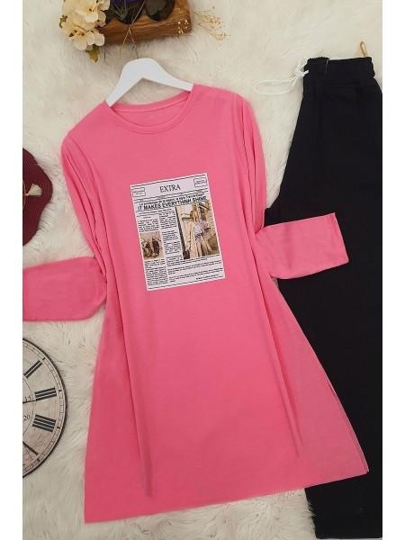 Long Sleeve Slit Tunic -Pink