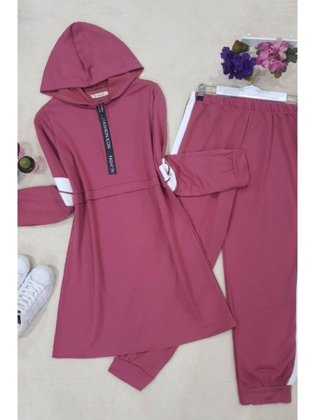 Striped Combed Suit   -Dried rose