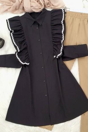 Süzene Nakış Poplin Tunik -Siyah