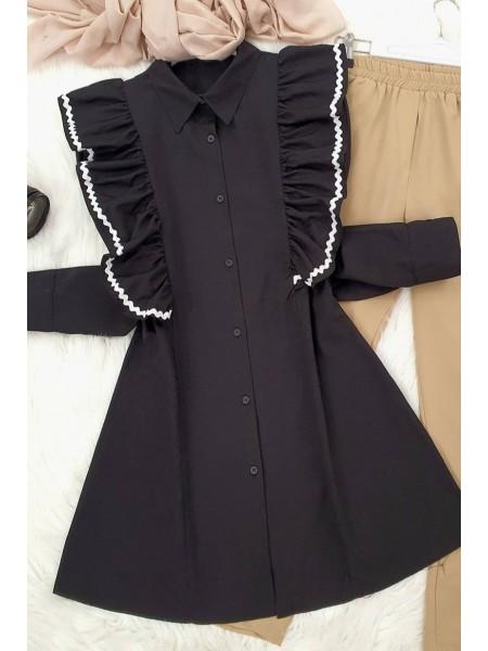 Embroidered Poplin Tunic -Black