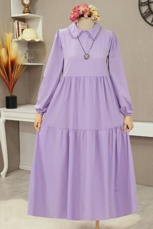 Yakası Güpürlü Parçalı Uzun Elbise  -Lila