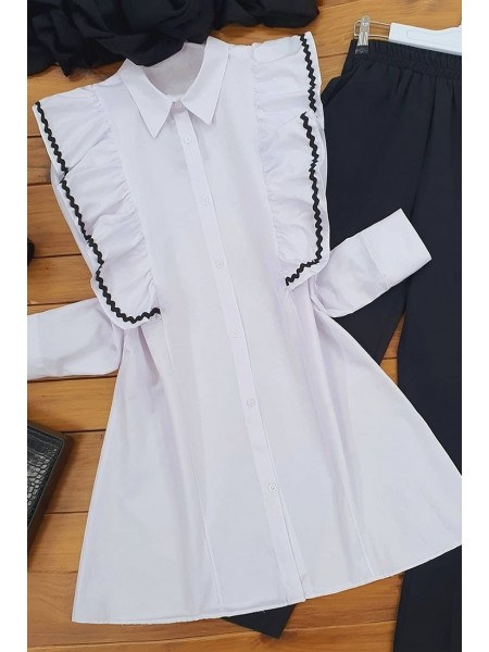 Embroidered Poplin Tunic -White