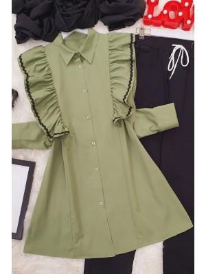 Embroidered Poplin Tunic  -Green
