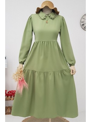 Lace-up Collar Long Dress -Green