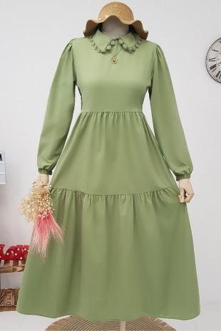 Yakası Güpürlü Parçalı Uzun Elbise -Yeşil