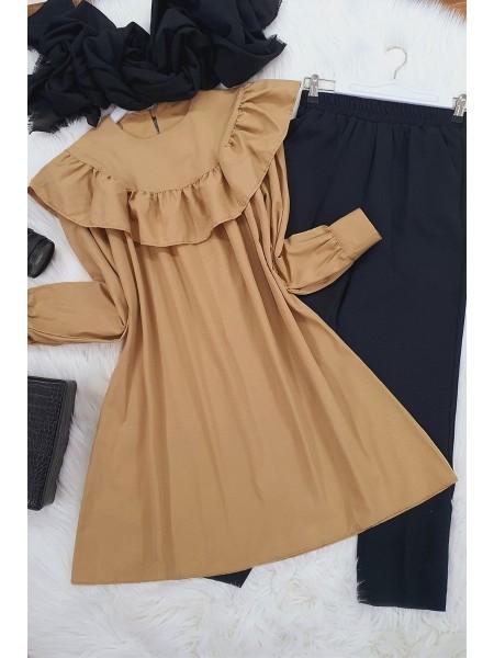 Robadan Fırfırlı Tunik -Mink color