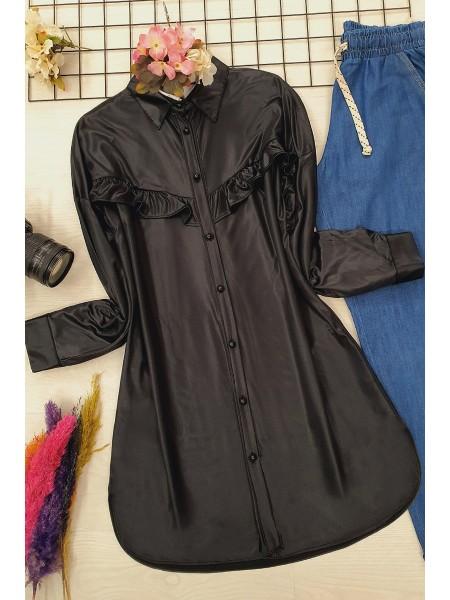 Ruffled Jersey Shirt -Black