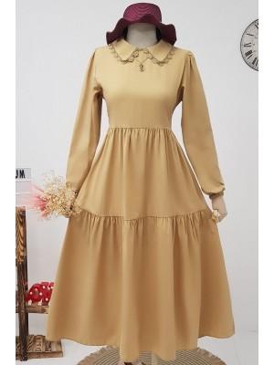 Lace-up Collar Long Dress -Mink color