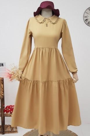 Yakası Güpürlü Parçalı Uzun Elbise -Vizon