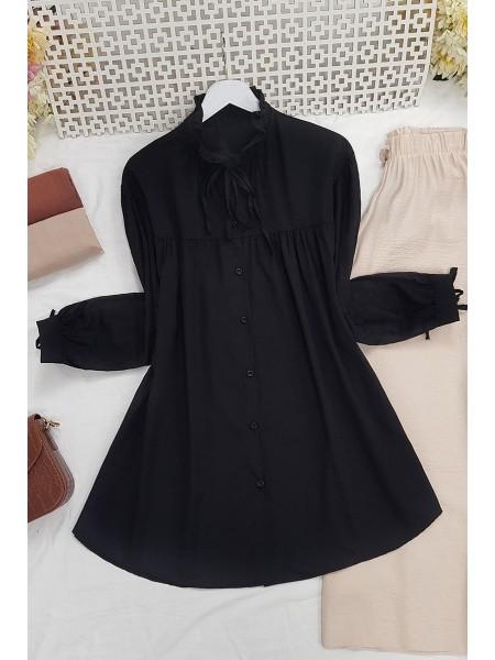 Lace-Up Collar Shirt -Black