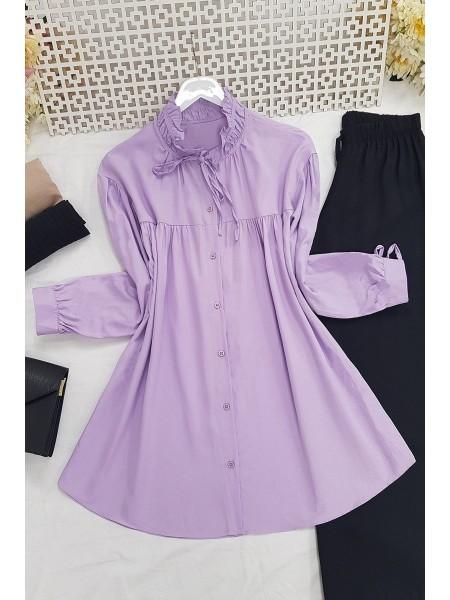 Lace-Up Collar Shirt -Lilac