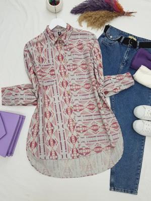One Pocket Ethnic Pattern Front Short Shirt -Garnet Color