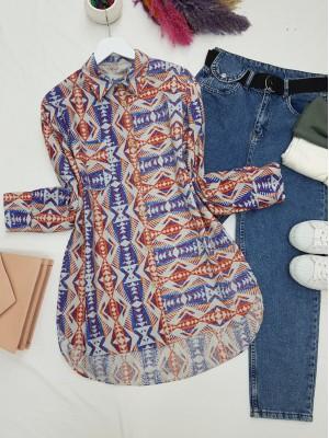 One Pocket Ethnic Pattern Front Short Shirt -Saxe